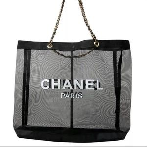 Authentic Chanel VIP Mesh Tote with Cosmetic Bag